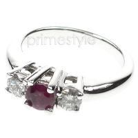 0.90CT Round Cut Ruby and Diamonds Three Stone Ring