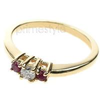 0.30CT Round Cut Diamond and Rubies Three Stone Ring
