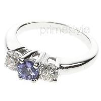 0.90CT Round Cut Tanzanite and Diamonds Three Stone Ring