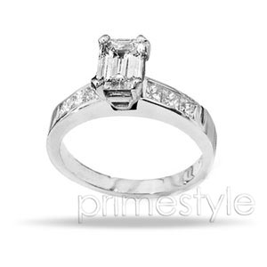 amazing 1.15CT Emerald and Princess Cut Diamonds Engagement Ring for $873.99