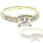 1.15CT Princess and Round Cut Diamonds Engagement Ring