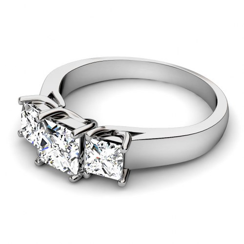 1.10CT Princess Cut Diamonds Three Stone Ring