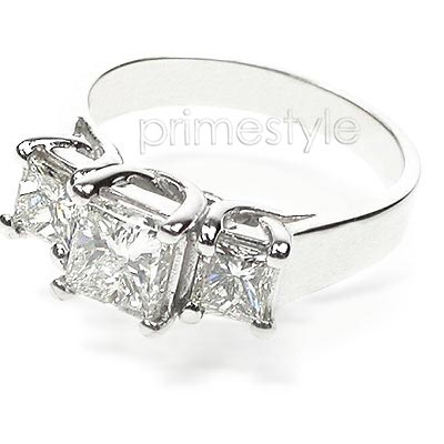 1.30CT Princess Cut Diamonds Three Stone Ring
