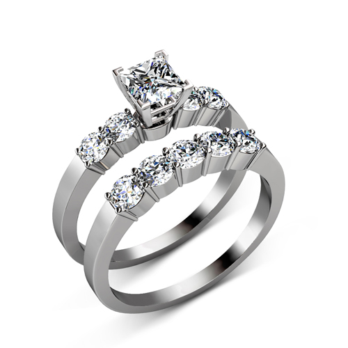 Princess and Round Cut  Diamond Bridal Set � 1.95CT