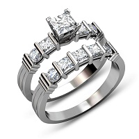1.90CT Princess and Round Cut Diamond Bridal Set