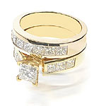 Engagement Ring and Wedding Band Bridal Set � 2.80CT Princess Cut Diamonds