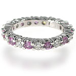 1.50CT Round Cut Diamonds and Pink Sapphires Eternity Band