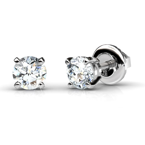 Diamond Stud Earrings with 0.80CT Total Weight and 14KT White Gold Setting