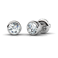 14KT White Gold Diamond Stud Earrings with 0.80CT Total Weight
