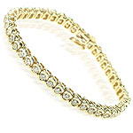 3.60CT Round Cut 14KT Yellow Gold Diamonds Tennis Bracelet