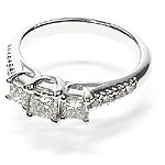 1.10CT Princess and Round Cut Diamonds Three Stone Ring