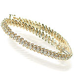 14KT Yellow Gold 4.00CT Round Cut Diamonds Tennis Bracelet