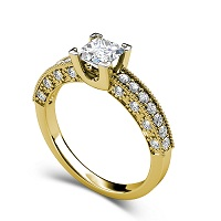 1.60CT Princess and Round Cut Diamonds Engagement Ring