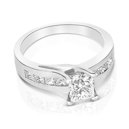 2.00CT Princess Cut Diamonds Engagement Ring