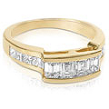 1.40CT Emerald and Princess Cut Diamond Wedding Band