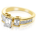 2.10CT Emerald and Princess Cut Diamonds Engagement Ring