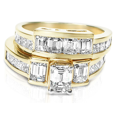 3 05CT Diamond Bridal Set with Emerald and Princess Cut Diamonds I J In Color