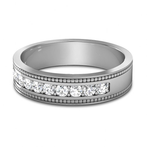 0.80CT Round Cut Diamonds Mens Wedding Band