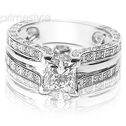 2.15CT Princess and Round Cut Diamonds Engagement Ring