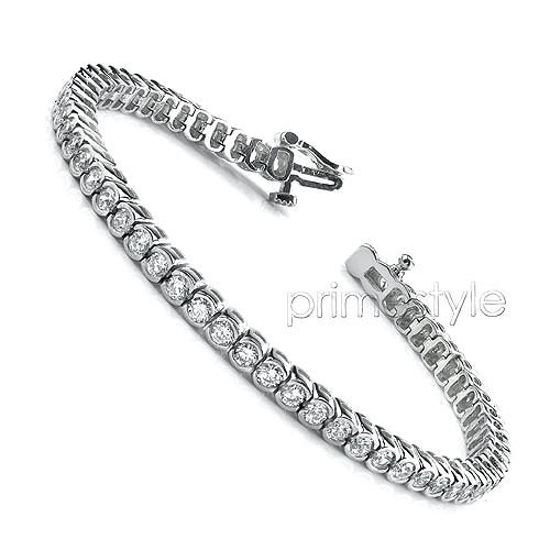 4.00CT Round Cut Diamonds Tennis Bracelet In 14KT White Gold