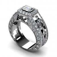 1.40CT emerald and round  cut diamonds engagement ring