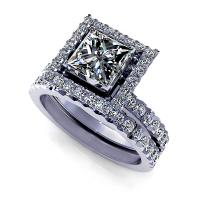 1.70CT princess and round  cut diamonds bridal set