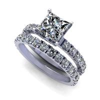 1.95CT princess and round  cut diamonds bridal set