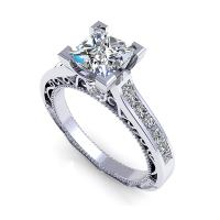 1.30CT princess and round  cut diamonds engagement ring