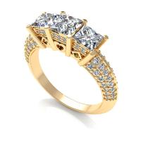 1.70CT princess and round  cut diamonds three stone ring