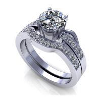 0.95CT round  cut diamonds bridal set