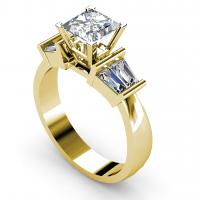 0.95CT princess and taper  cut diamonds engagement ring
