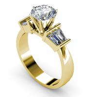 0.95CT round and taper  cut diamonds engagement ring
