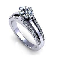1.00CT round  cut diamonds engagement ring