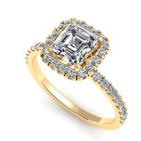 1.00CT asscher  and round  cut diamonds engagement ring