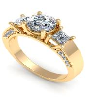 1.30CT round and princess  cut diamonds three stone ring