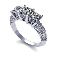 2.25CT princess and round  cut diamonds three stone ring