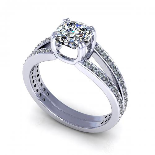 0 85CT Cushion And Round Cut Diamonds Engagement Ring In