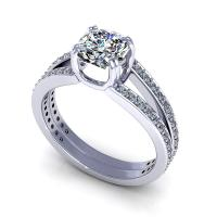 0.85CT cushion and round  cut diamonds engagement ring