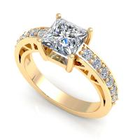 0.85CT princess and round  cut diamonds engagement ring