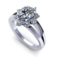 0.75CT oval and round  cut diamonds engagement ring