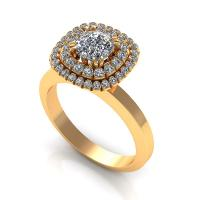 0.69CT cushion and round  cut diamonds engagement ring