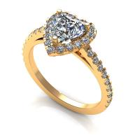 0.80CT heart and round  cut diamonds engagement ring