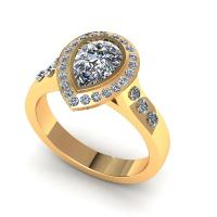 0.73CT pear and round  cut diamonds engagement ring