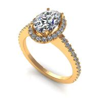 0.72CT oval and round  cut diamonds engagement ring