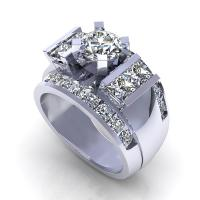 3.00CT round and princess  cut diamonds engagement ring