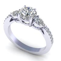 0.85CT round and princess  cut diamonds engagement ring