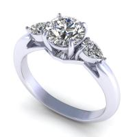 0.65CT round and pear  cut diamonds three stone ring