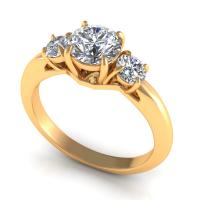 0.85CT round  cut diamonds three stone ring