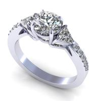 0.95CT round and triangle  cut diamonds engagement ring