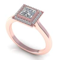 0.49CT princess and round  cut diamonds engagement ring